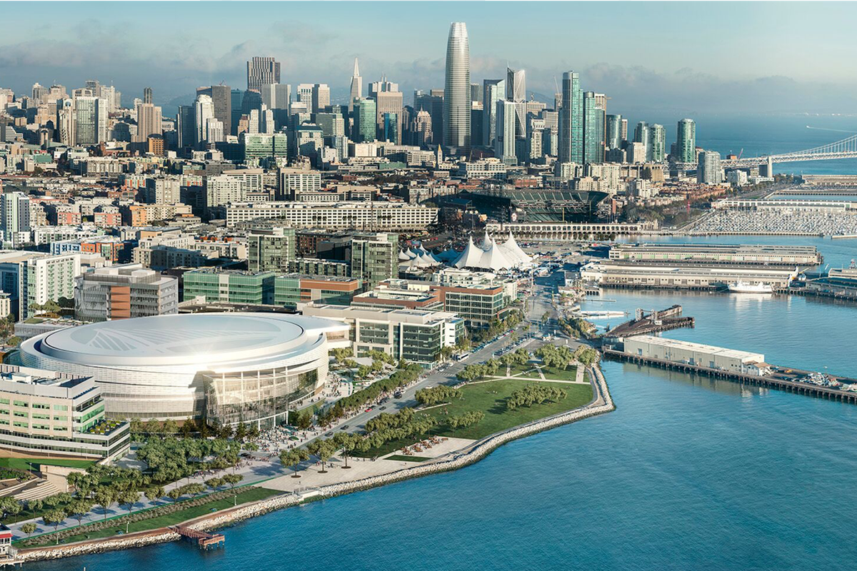 A rendering of the new arena, with a future SF skyline including several under construction towers behind it.