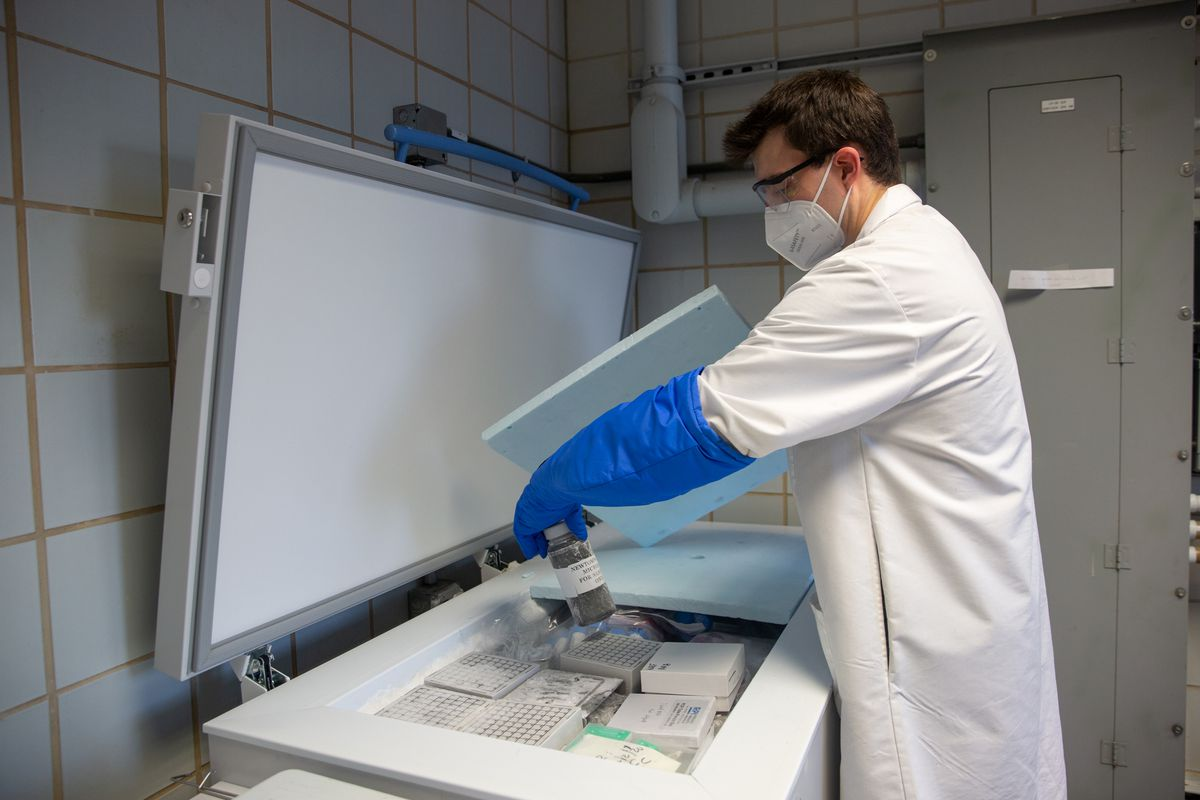 Department of Environmental Protection microbiologist Alexander Clare helps test wastewater samples for the coronavirus inside at a lab at the Newtown Creek facility in Brooklyn.