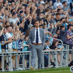 July 10, 2019 - Saint Paul, Minnesota, United States - New Mexico United head coach Troy Lesesne reacts to going down 4-1 during the quarter-final match of the US Open Cup against Minnesota United at Allianz Field.