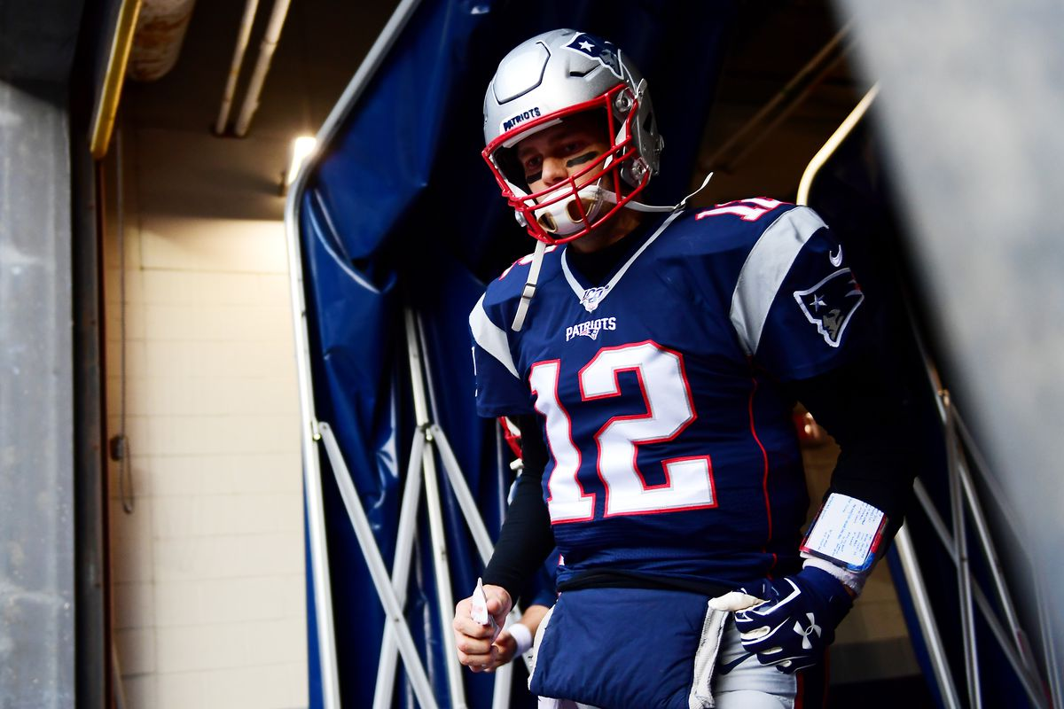 Tom Brady of the New England Patriots takes the field before the game against the Buffalo Bills at Gillette Stadium on December 21, 2019 in Foxborough, Massachusetts.