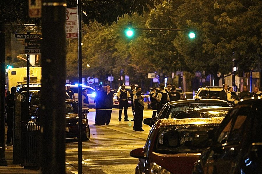 Officers on the scene at a police-involved shooting early Saturday in Humboldt Park. | Daniel Brown/Sun-Times