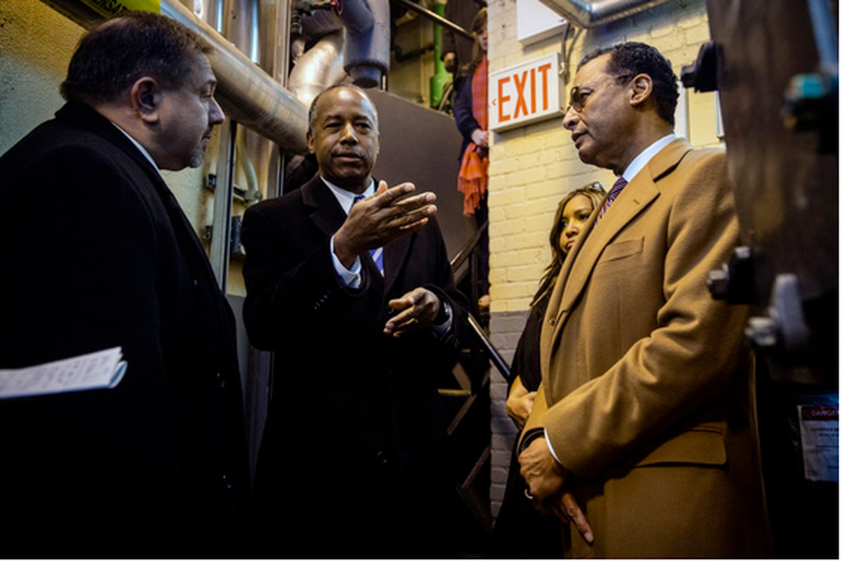 HUD Secretary Ben Carson visits a NYCHA complex in 2018.