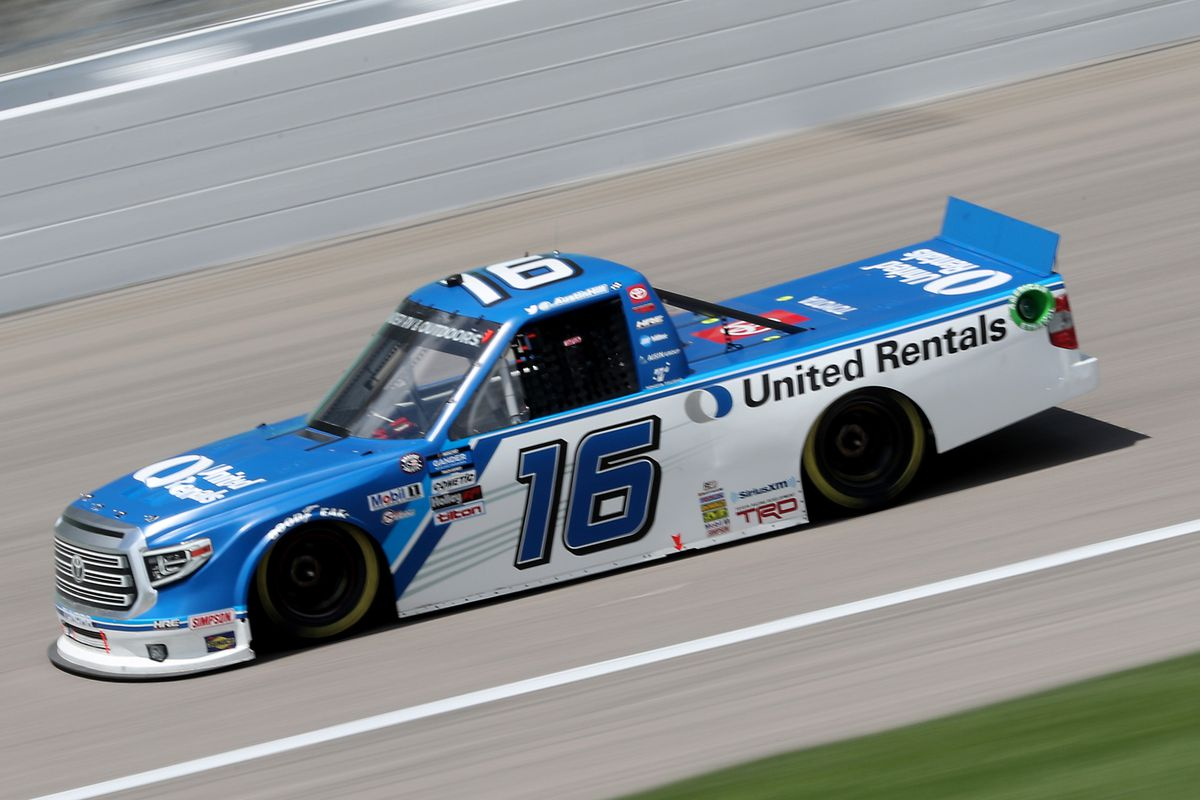 Austin Hill, driver of the #16 United Rentals Toyota, drives during the NASCAR Gander RV & Outdoors Truck Series e.p.t 200 at Kansas Speedway on July 25, 2020 in Kansas City, Kansas.