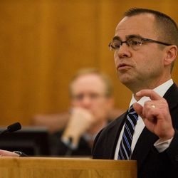 Prosecutor Tim Taylor gives his opening statements to the jury on the first day of Martin Bond's trial in 4th District Court in American Fork Wednesday, Jan. 16, 2013. Bond is accused of killing former BYU professor Kay Mortensen in November 2009.