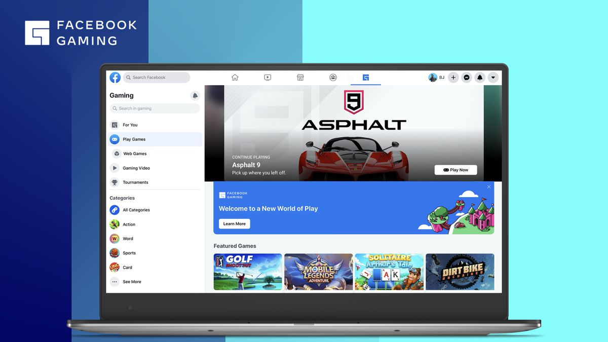 The new look of the Facebook gaming tab, including an for Ashpalt 9: Legends.