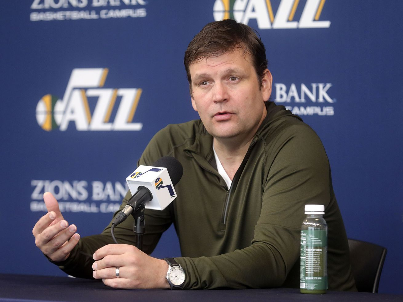 Dennis Lindsey, Utah Jazz general manager, talks to members of the media at the Zions Bank Basketball Center in Salt Lake City on Thursday, April 25, 2019. The Utah Jazz season ended with Wednesday's loss to Houston in the playoffs.