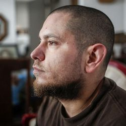 Nate Hall, 34, is pictured in his uncle's trailer in Ogden on Wednesday, May 17, 2017. Hall's brother, Matt Hall, was in jail for 15 months until he smashed his head into a wall and jumped off a railing in February. He was paralyzed from the shoulders down until dying from his injuries on April 7.