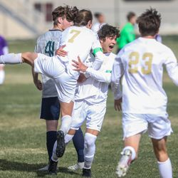 Syracuse and Davis face off during a boys soccer match at Syracuse High School on Thursday, April 8, 2021.