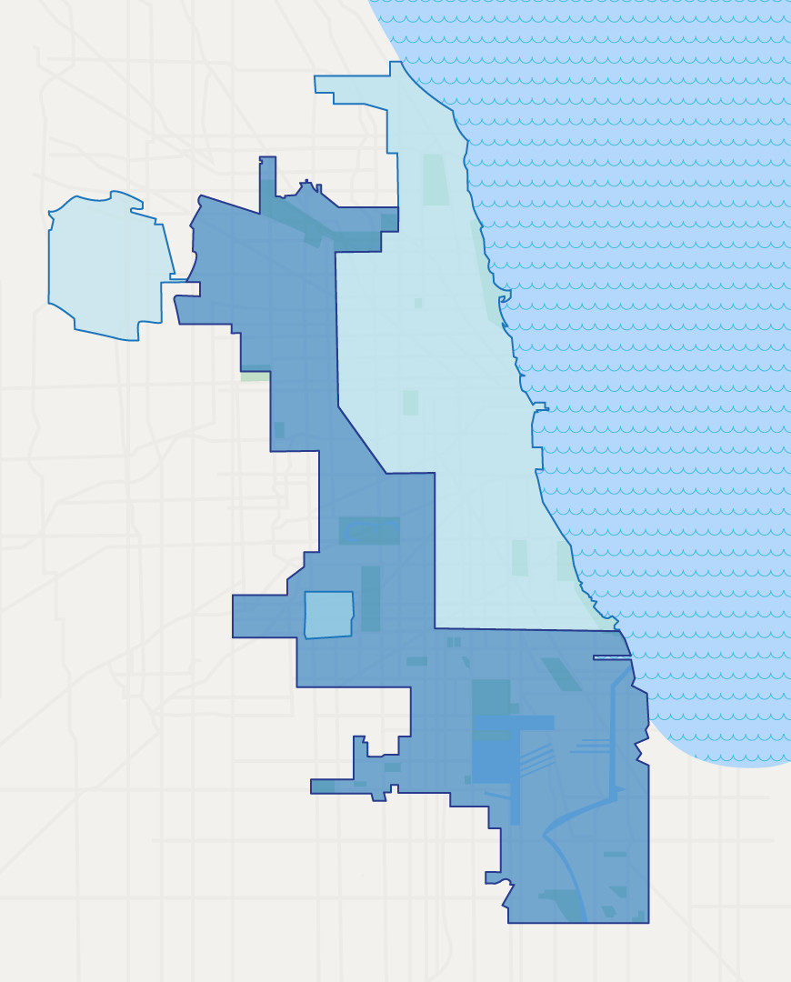 An illustration of a Chicago map that outlines Via's previous coverage zone: mainly downtown, North Side, part of the south side, O'Hare and Midway. New coverage zones include the Far South Side, further west, and northwest side.