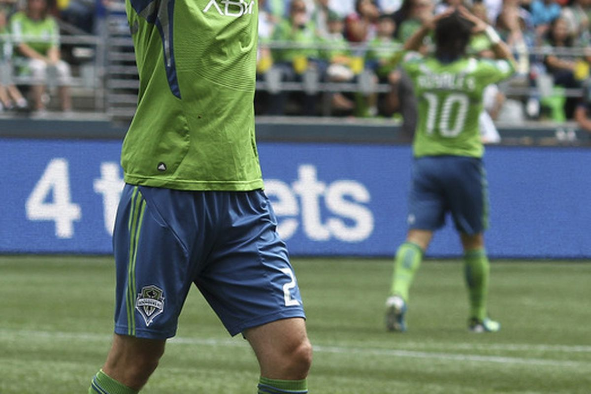 SEATTLE - AUGUST 13:  Pat Noonan #25 of the Seattle Sounders FC reacts after missing a shot against Chivas USA at CenturyLink Field on August 13, 2011 in Seattle, Washington. (Photo by Otto Greule Jr/Getty Images)