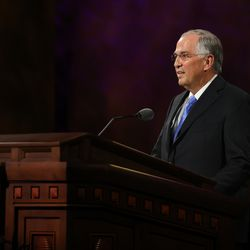 Elder Neil L. Andersen of the Quorum of the Twelve Apostles speaks during the Sunday morning session of the 190th Semiannual General Conference of The Church of Jesus Christ of Latter-day Saints on Oct. 4, 2020.
