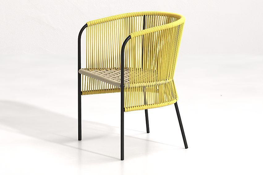 Yellow wicker outdoor chair.