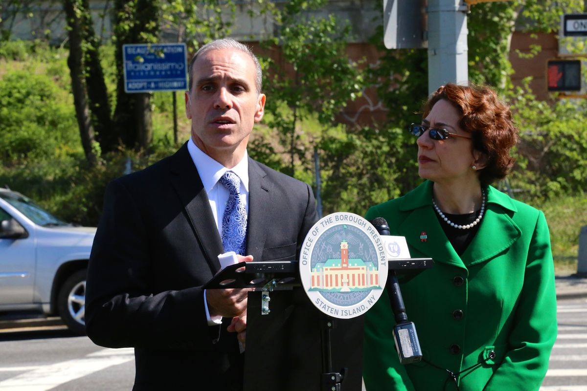 Staten Island Borough President James Oddo speaks about new adopt a highway signs in 2015.