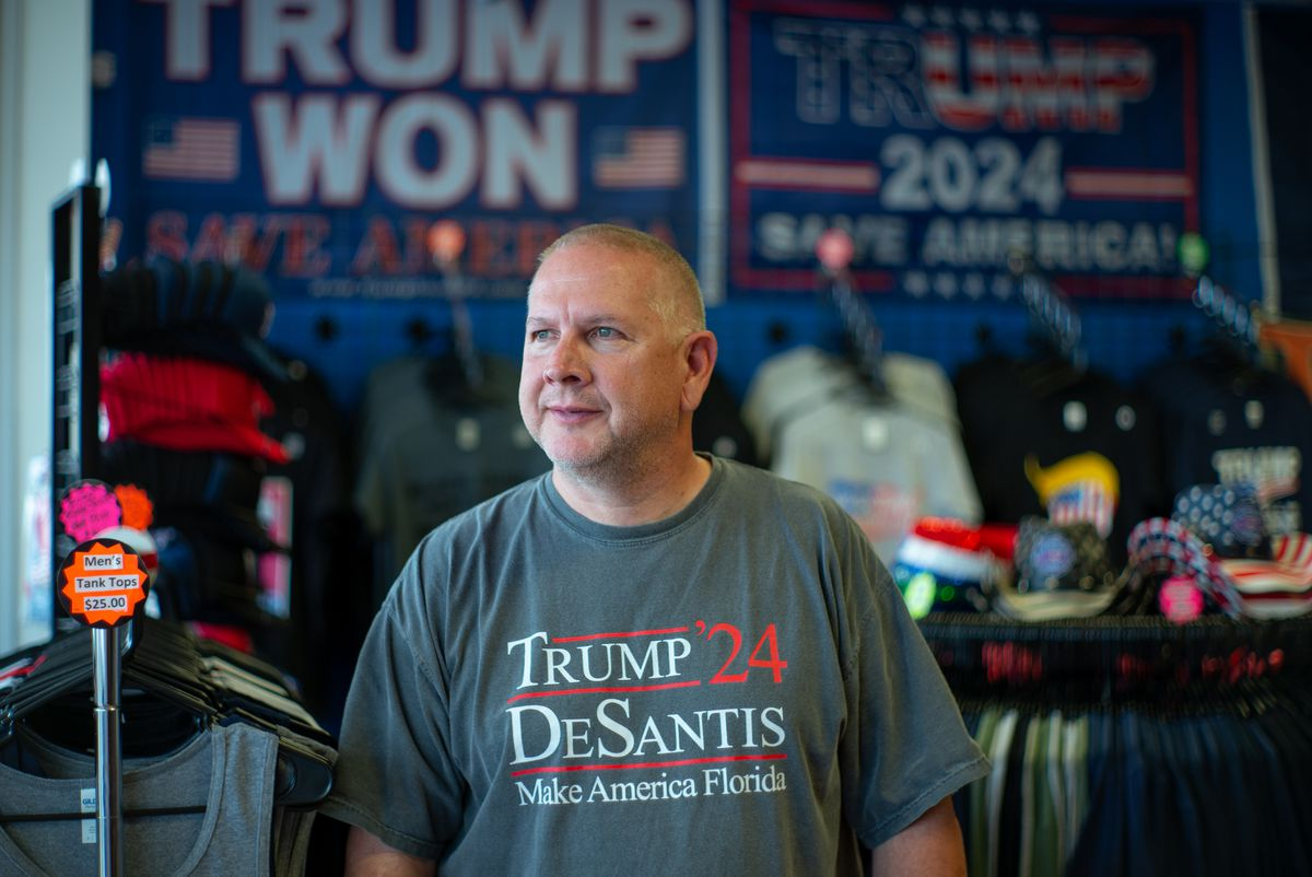 Mike Domanico stands for a portrait inside The Trump Store in Bensalem, Penn., on Thursday, Sep. 9, 2021.