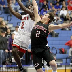 Manti's Jordan Blauer shoots as Grantsville's Tate Allred guards him during the 3A boys basketball state tournament quarterfinals at the Lifetime Activities Center in Taylorsville on Thursday, Feb. 20, 2020. Manti won 67-54.