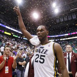 Utah Jazz center Al Jefferson (25) celebrates the Jazz win over the Phoenix Suns play Tuesday, April 24, 2012 in Energy Solutions arena 100-88.