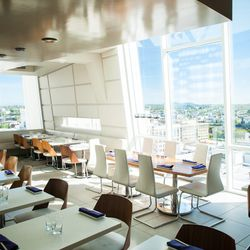 With a dining room seemingly plucked right out of the LA club scene, the high-flying Departure, on top of the Nines Hotel, juxtaposes a room full of sleek angles with the stunning natural views of the city below.