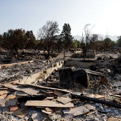 The remnants of a home burned in the Almeda Fire in Talent, Ore., is pictured on Saturday, Sept. 19, 2020.