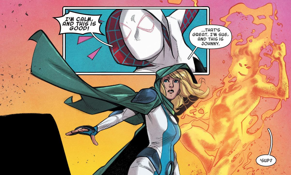 Sue and Johnny Storm greet Gwen Stacy/Ghost-Spider in Ghost-Spider #9, Marvel Comics (2020)