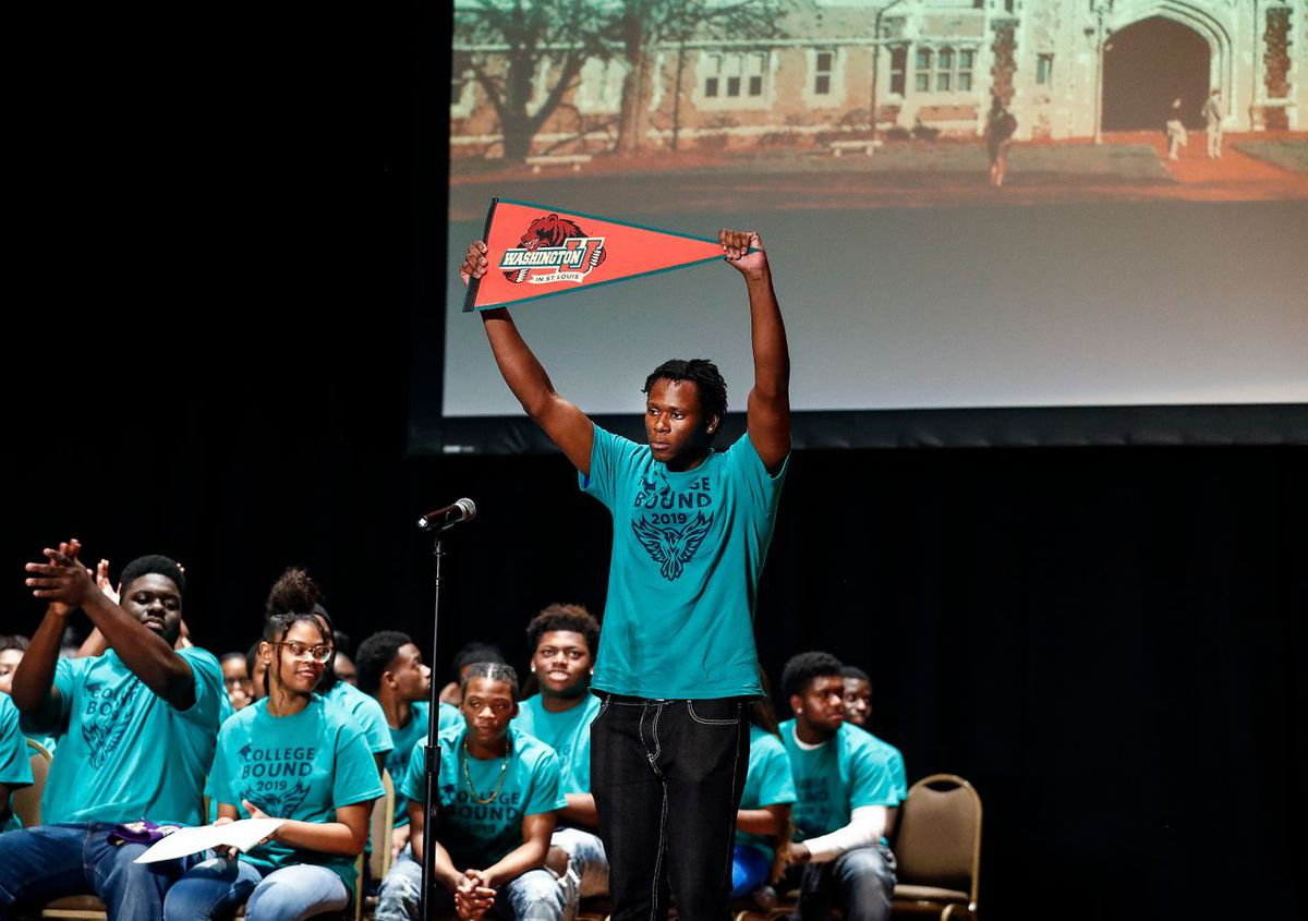 KIPP Memphis Collegiate High School senior Roy Antoine announces that he will be attending college at Washington University in St. Louis during the school's Decision Day 2019 at The Cannon Center.