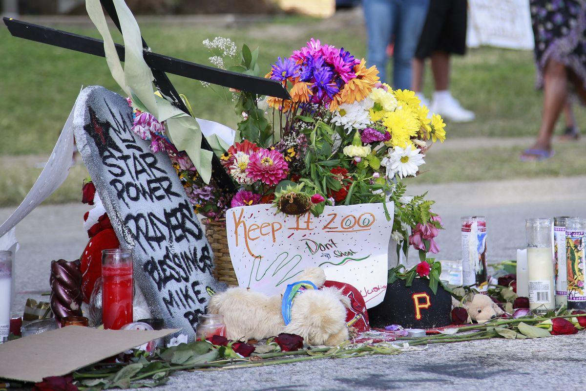 A memorial to Michael Brown in Ferguson, MO.