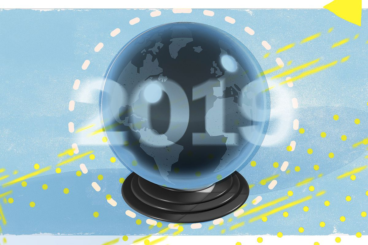 """An illustration of a crystal ball with """"2019"""" superimposed on it."""