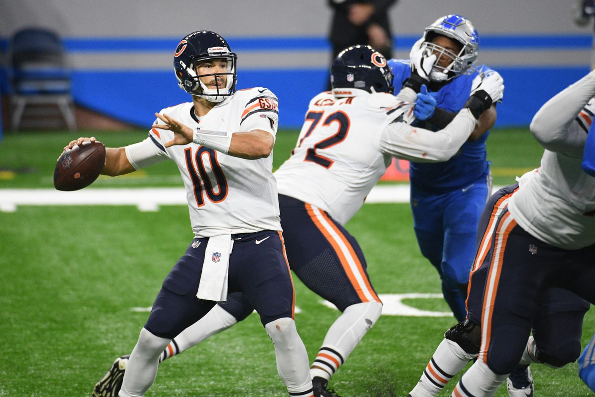 Chicago Bears quarterback Mitchell Trubisky drops back to pass 2 against the Detroit Lions at Ford Field.