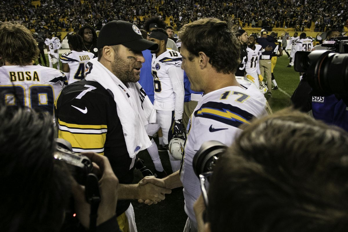 Pittsburgh Steelers quarterback Ben Roethlisberger (7) and Los Angeles Chargers quarterback Philip Rivers (17) shake hands after the game during the NFL football game between the Los Angeles Chargers and the Pittsburgh Steelers on December 02, 2018 at Heinz Field in Pittsburgh, PA.