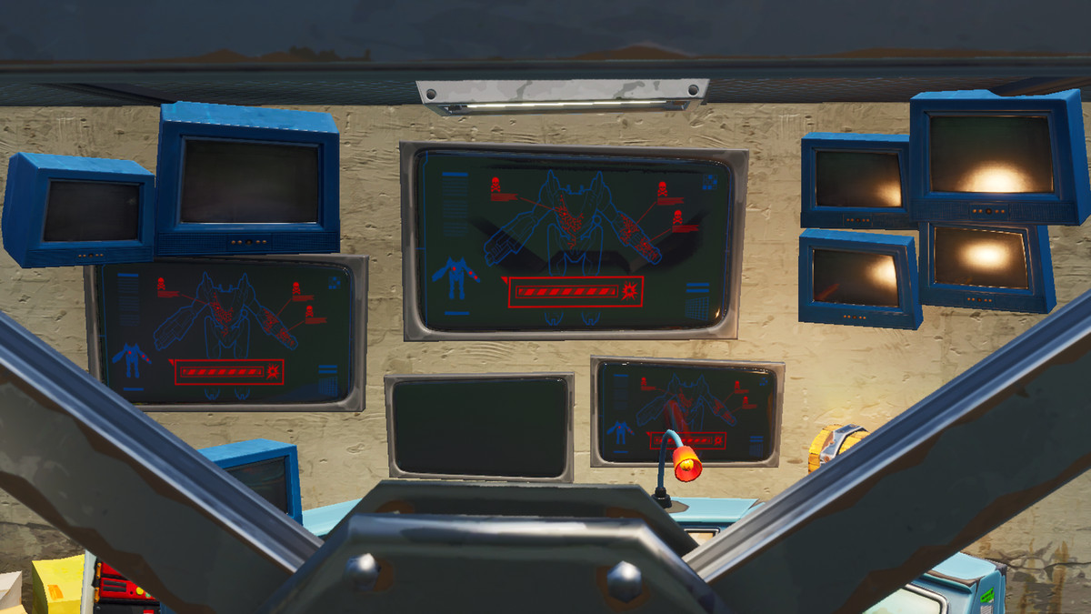 A computer banks shows a picture of the mech with a progress bar that seems to have been filled up leading to a picture of an explosion.