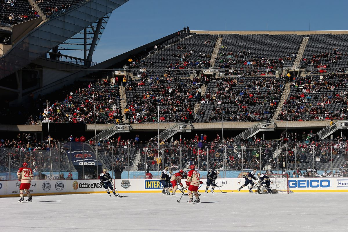 Miami and Notre Dame at the Hockey City Classic at Soldier Field
