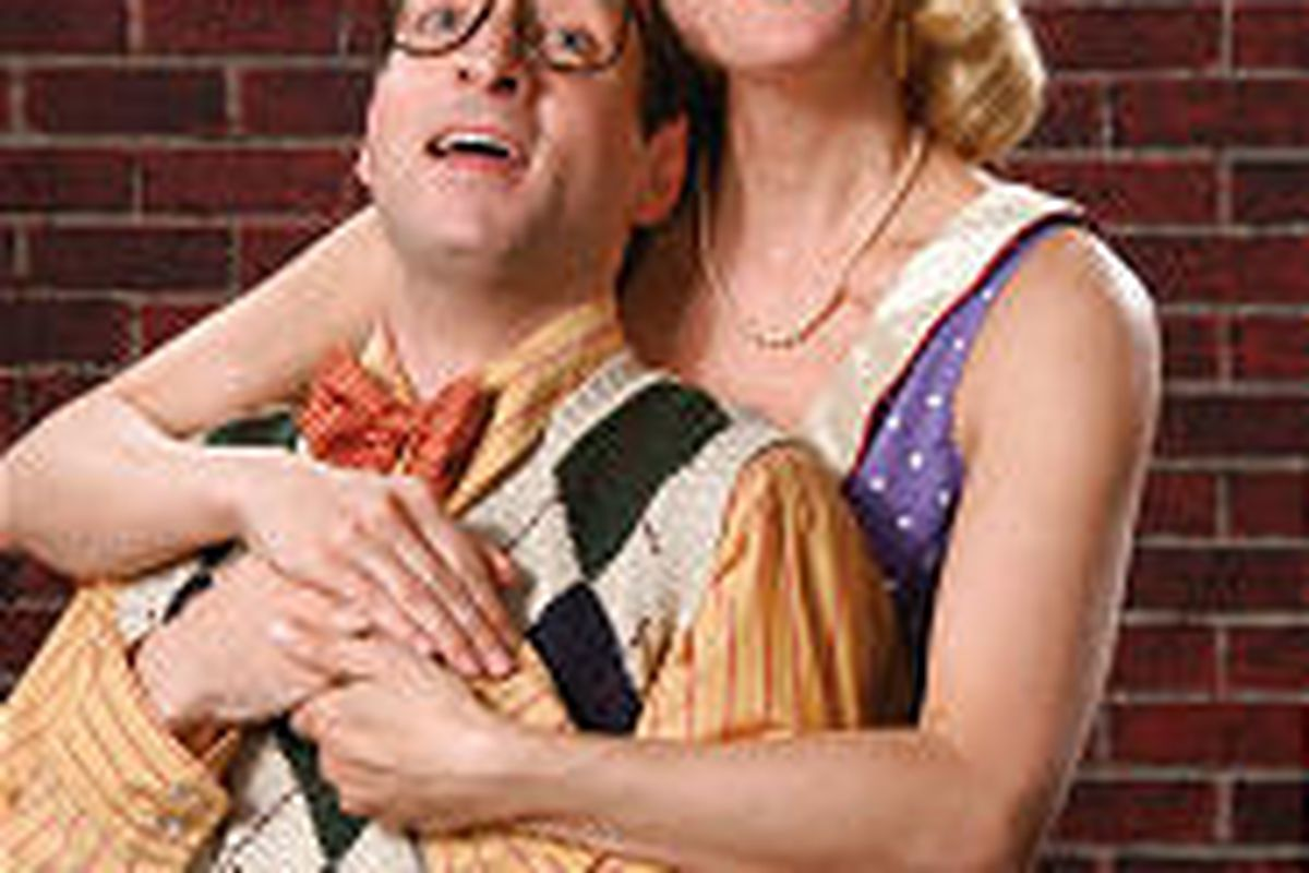 """Peter Riopelle as Seymour and Tina Stafford as Audrey in Utah Shakespearean Festival production of """"Little Shop of Horrors."""""""