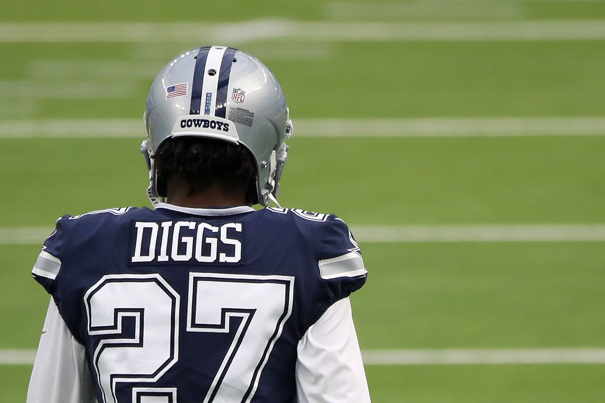 Trevon Diggs of the Dallas Cowboys warms up before the game against the Los Angeles Rams at SoFi Stadium on September 13, 2020 in Inglewood, California.