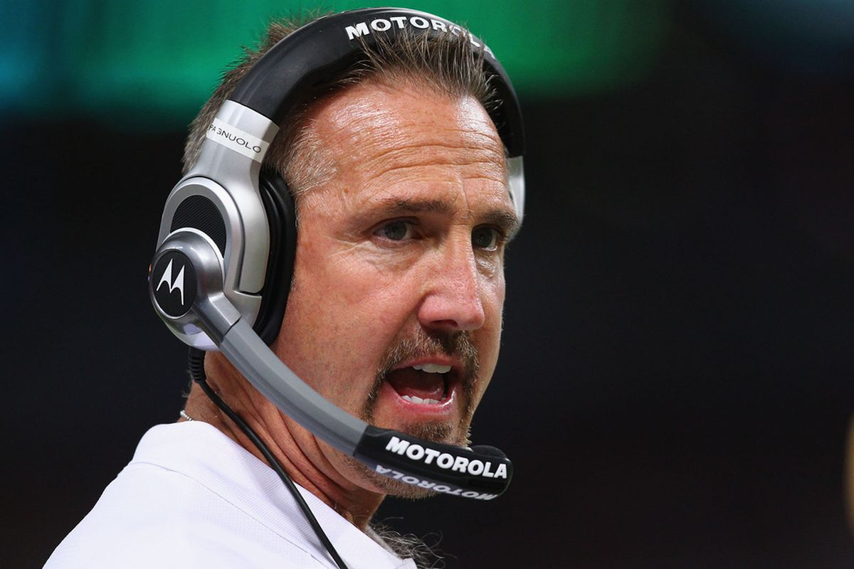 Head coach <strong>Steve Spagnuolo</strong> of the St. Louis Rams.  (Photo by Dilip Vishwanat/Getty Images)
