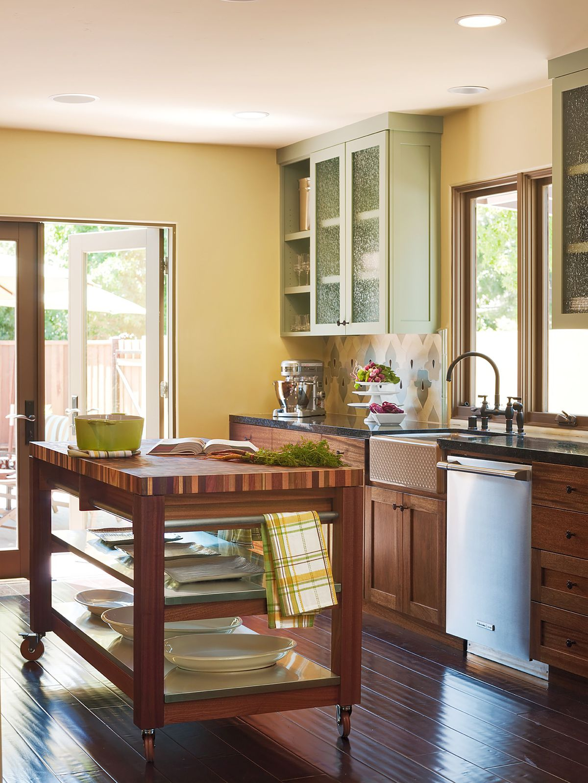 Organic classic style wood countertop in kitchen.
