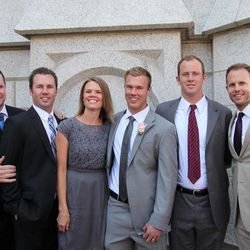 Left to right, Trevan, Cody, Emily, Dan, Brad and Bryan at Dan's wedding.