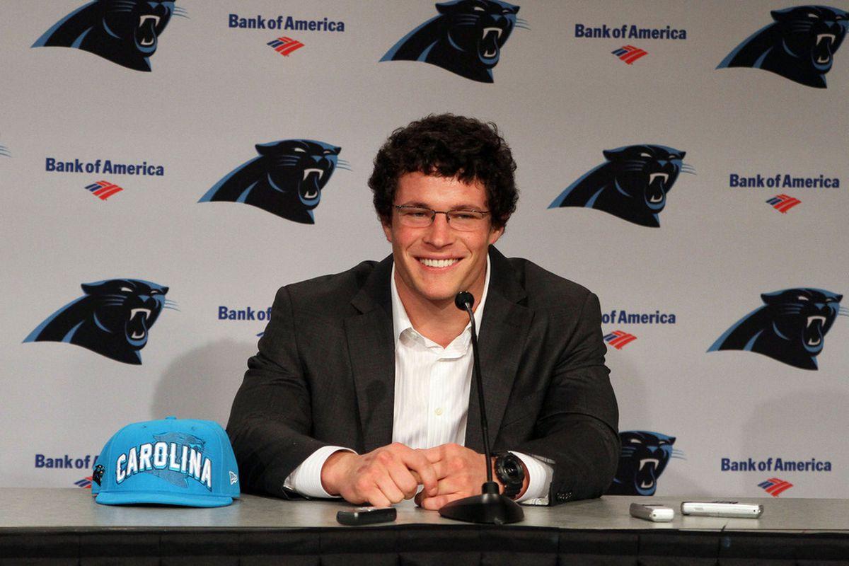 Apr 27, 2012; Charlotte, NC, USA  Carolina Panthers first round draft pick Luke Kuechly talks with the media during a press conference at Bank of America Stadium. Mandatory Credit: Jeremy Brevard-US PRESSWIRE