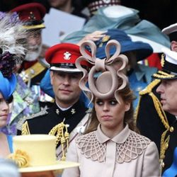 LONDON, ENGLAND - APRIL 29:  (L-R) Princess Eugenie of York, Prince Edward, Earl of Wessex, Princess Beatrice of York and Prince Andrew, Duke of York following the marriage of Prince William, Duke of Cambridge and Catherine, Duchess of Cambridge at Westmi
