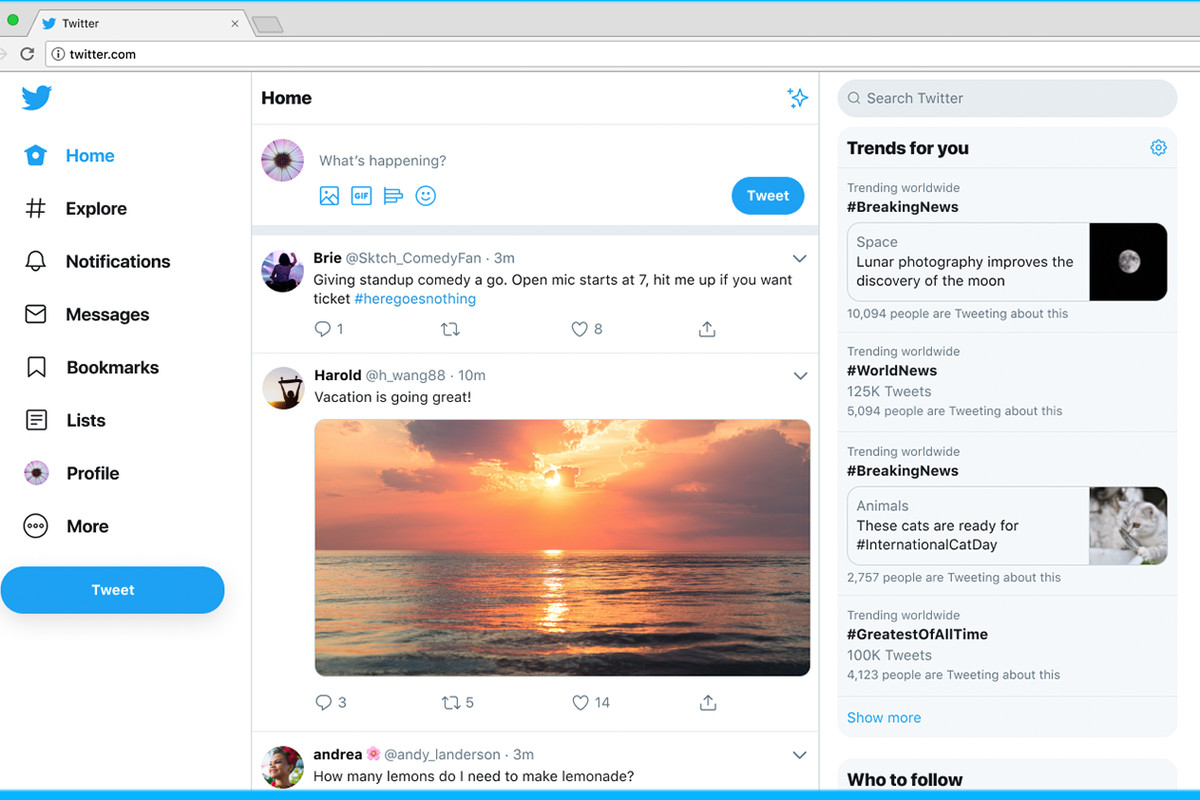 Twitter desktop redesign adopts some of its mobile app's