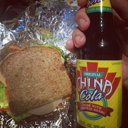 Lunch! Vegan ham is surprisingly good. China Cola was interesting :)