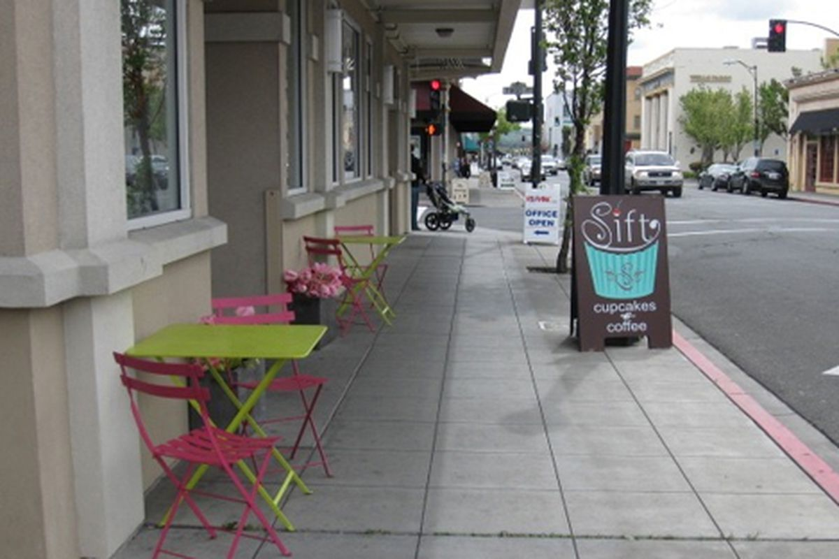 The street outside Sift in downtown Napa.