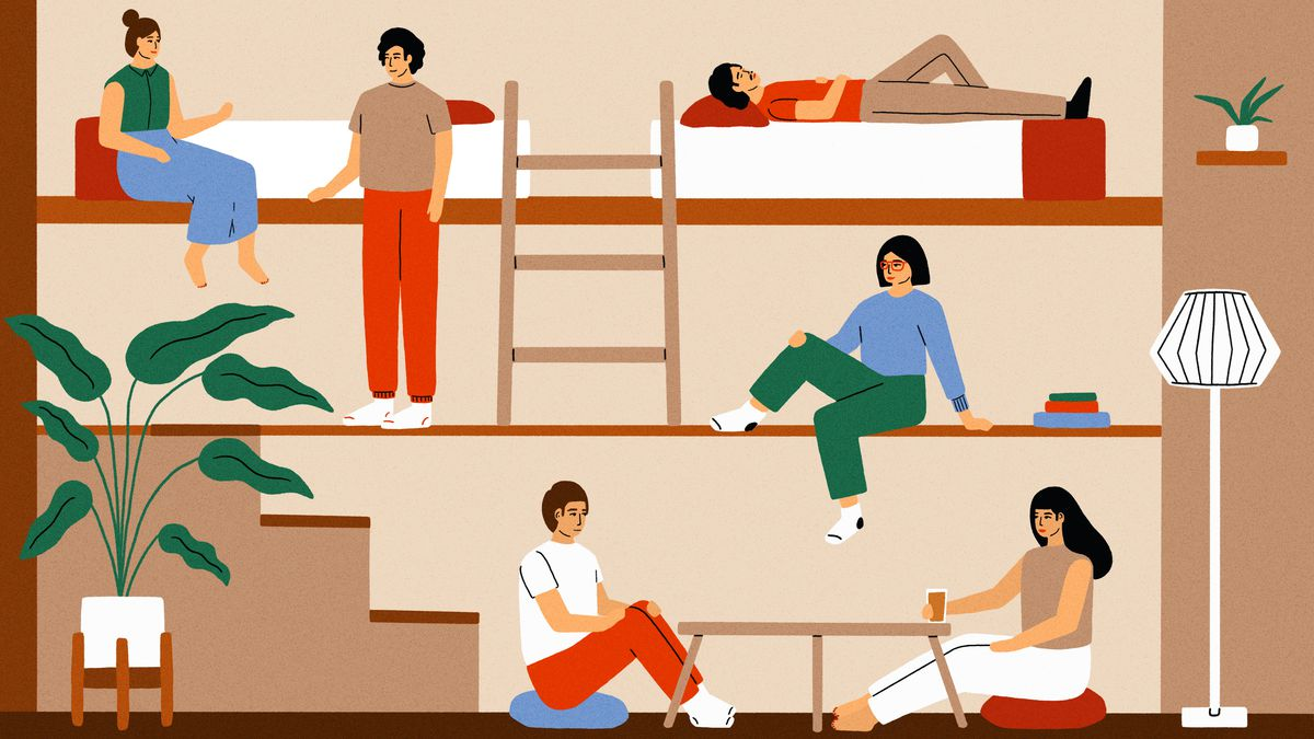 Multiple people in rooms in a house. In the rooms are beds, a staircase, a lamp, a table, and a houseplant. This is an illustration.