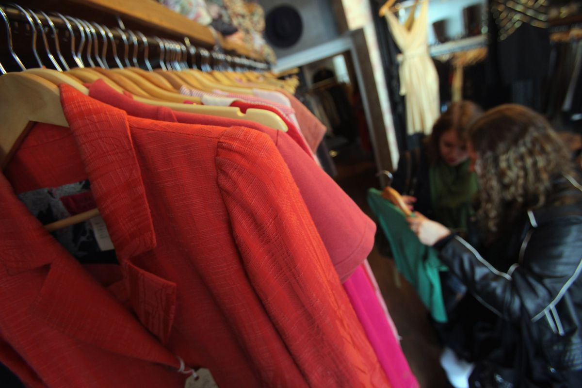 Secondhand clothing store rack