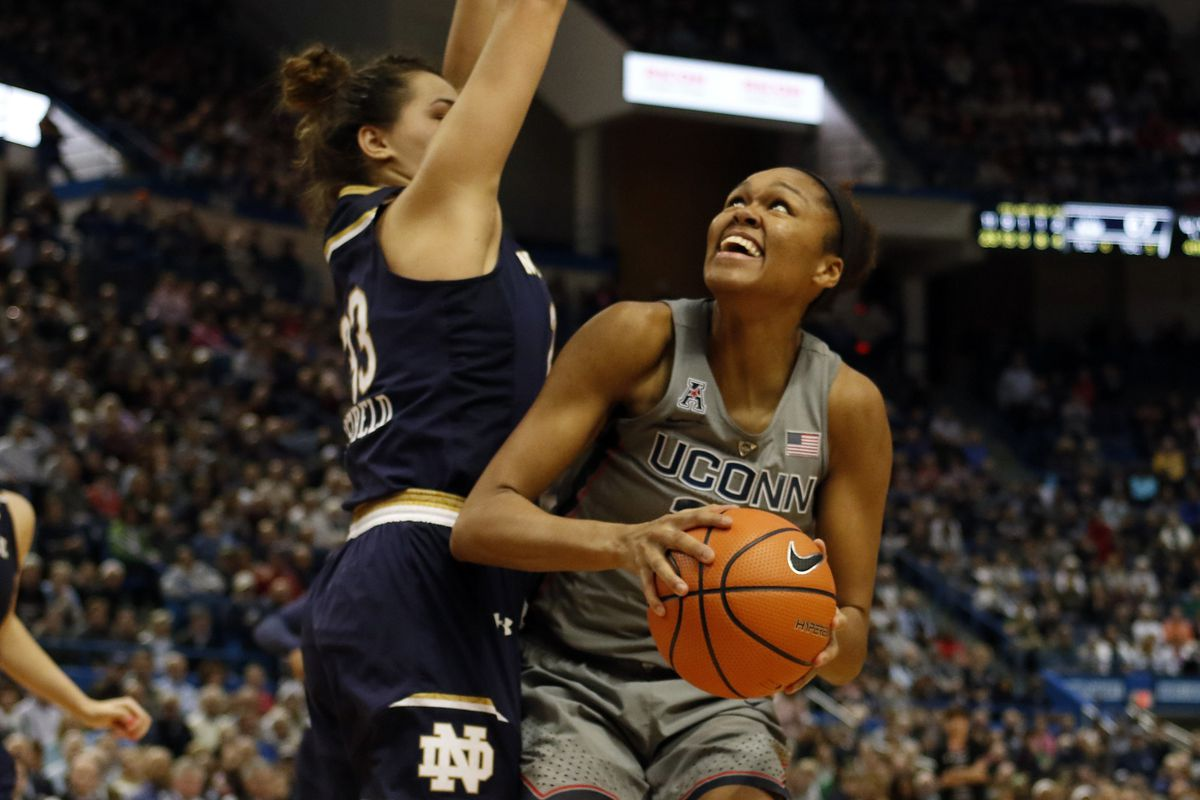 UConn's Azura Stevens (23) goes up for two of her 17 points during the Notre Dame Fighting Irish vs UConn Huskies women's college basketball game in the Women's Jimmy V Classic at the XL Center in Hartford, CT on December 3, 2017.