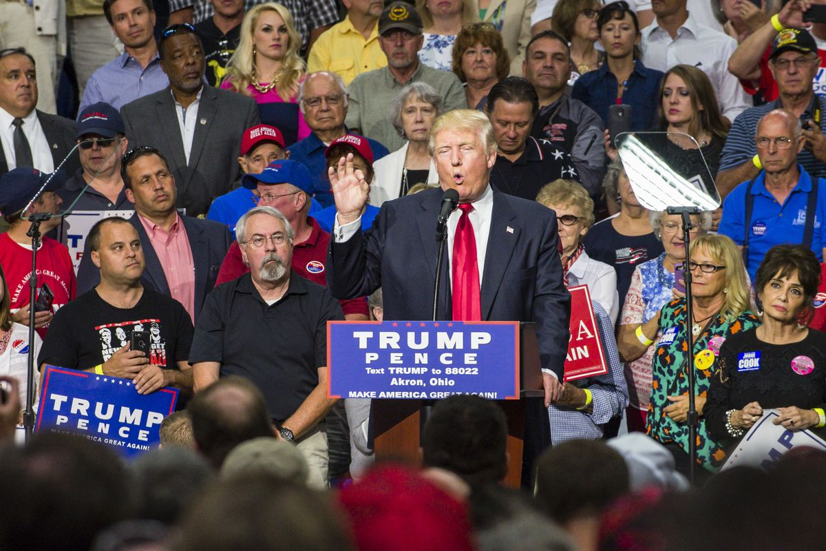 GOP Presidential Nominee Donald Trump Campaigns In Akron, Ohio