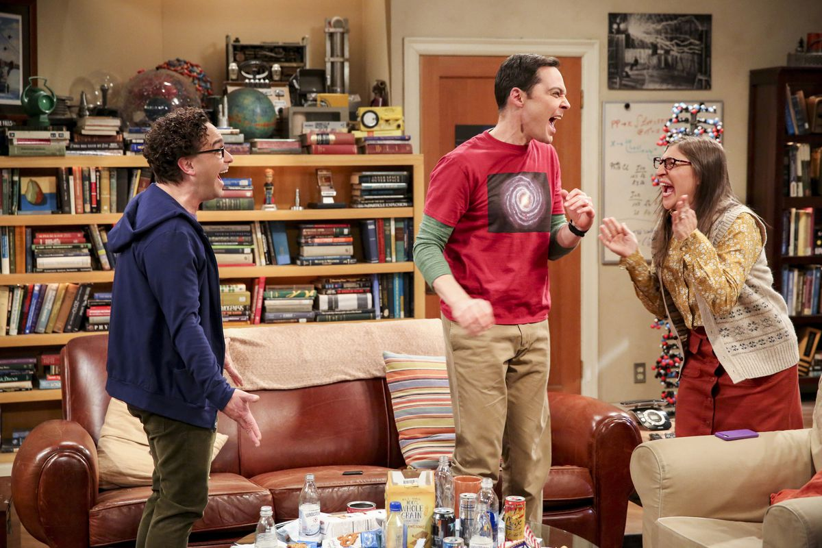 """Johnny Galecki (from left), Jim Parsons and Mayim Bialik in a scene from the series finale of """"The Big Bang Theory,"""" Thursday, May 16, 2019."""