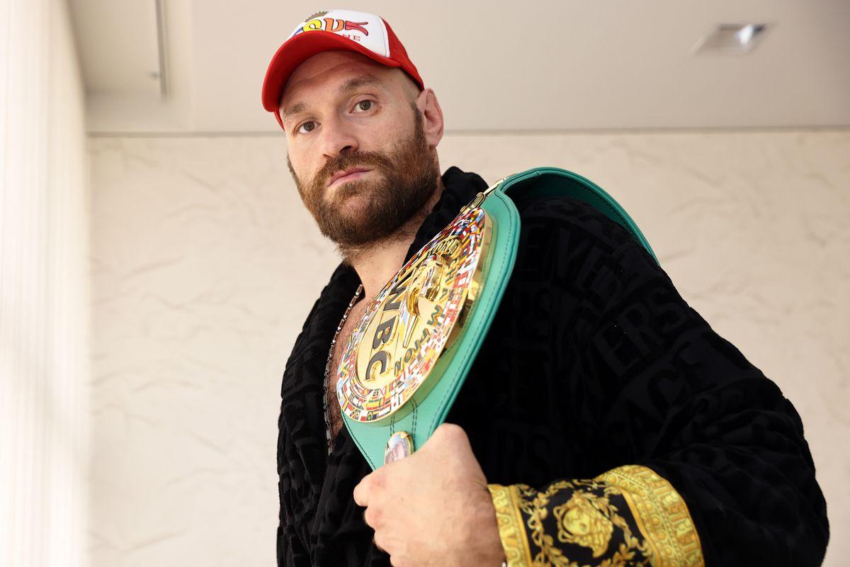 Tyson Fury with the WBC heavyweight title belt.