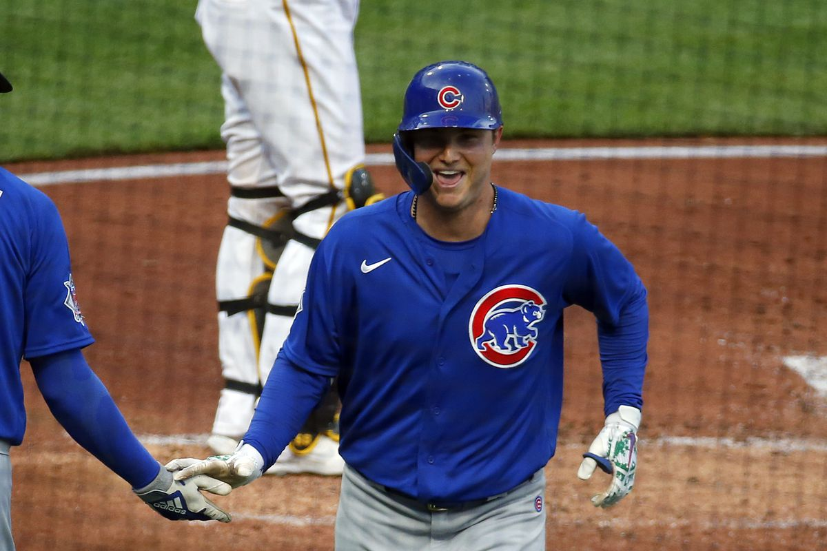 The Cubs' Joc Pederson celebrates after hitting a solo home run in the third inning against the Pirates at PNC Park.