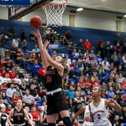 Grantsville's Maison White (24) goes for the basket against Judge Memorial during the 3A girls basketball semifinals at the Lifetime Activities Center in Taylorsville on Friday, Feb. 21, 2020.