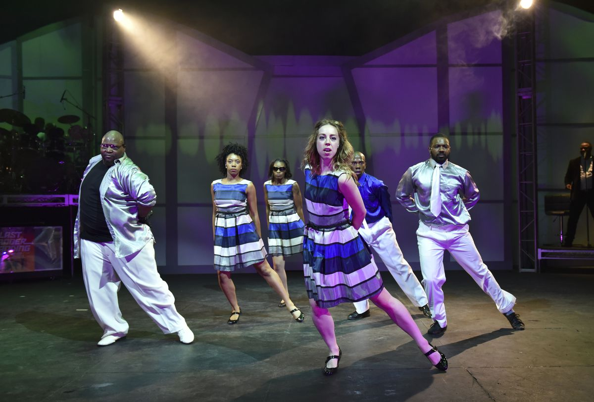 """In """"Last Dancer Standing (More Than Hip-Hop),"""" Rueben Echoles' new production for the Black Ensemble Theater, dancers compete in a reality TV show.   Michael Courier"""