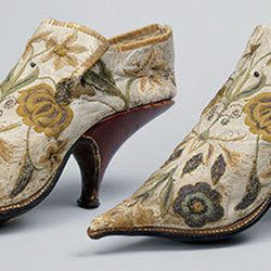 French shoes, 1690–1700. Silk, leather.